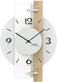 ams modern wall clocks design 9557 with sonoma oak aluminum and glass elements designer living room clock wall clock for office and