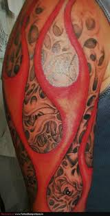 Red Heart Fire N Flame Tattoo On Chest