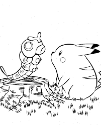 Pikachu And Caterpie Pokemon Coloring Page Manga Pages Cartoon Centerpie Free Online Printable