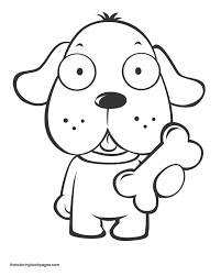 Coloring Book Pages Animals Dogs Cute Puppy Holding Bone