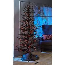 Image Is Loading 7 Ft Animated Black Tinsel Tree Purple Orange