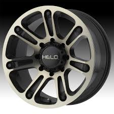 100 Helo Truck Wheels HE904 Machined Black Dark Tint Custom Rims Custom