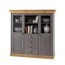 esszimmer highboard vitrine cempino in grau