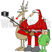 Clipart of a Cartoon Christmas Santa Claus Elf and Rudolph the Red Nosed Reindeer Taking a Picture with a Smart Phone and Selfie Stick Royalty Free