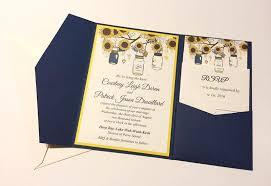 Sunflower Wedding Invitation Kits Pocketfold Set Mason Jar