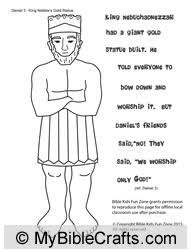 Coloring Page Of The Gold Statue It Tells What Shadrach Meshach And Abednego Said