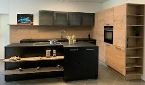 nolte ausstellungsküche f17 feel schwarz softmatt t21 timber steineiche horiz ebay