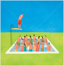 Man On Diving Board Jumping Into Pool Full Of People But No