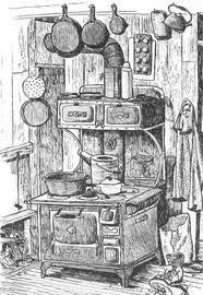 Drawing Of Old Wood Cook Stove And Cast Iron Skillets