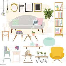 wohnzimmer möbel und wohnaccessoires darunter sofas niedrige stock vektor und mehr bilder accessoires