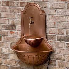 Replacing An Outdoor Wall Faucet by Double Sink Copper Wall Fountain With Faucet Copper Wall Wall
