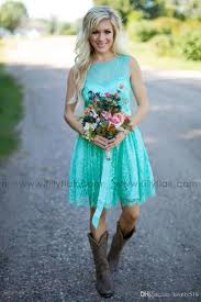 Cheap Turquoise Filly Flair Bridesmaids Dresses Country Jewel Backless Ribbon Lace Short Bridesmaid Formal Dress Wedding Party Gowns Plus Size As Low