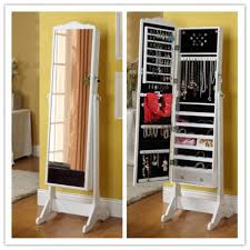 White Mirrored Jewelry Cabinet Armoire Canada by Clever Mirror Jewelry Cabinet Laluz Nyc Home Design