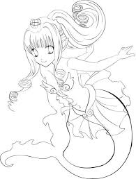 Anime Girl Mermaid Princess In Colouring Page