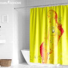 nackt mädchen aquarell kunst dusche vorhang badezimmer wasserdicht stoff dusche vorhang schönheit 3d vorhänge für bad dusche gelb
