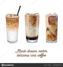 Iced Coffee Hand Drawn Vector Illustration Advertising Americano Bean Beverage