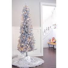Slim Pre Lit Christmas Trees by Silver Tinsel Pencil Xmas Tree 7 U0027 Artificial Slim Prelit Christmas
