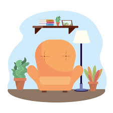 wohnzimmer mit stuhl und pflanzen dekoration
