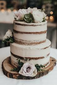Two Tier Rustic Naked Cake With Fresh Flowers