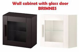 IKEA Wall Cabinet with Glass Door BRIMNES Black White Drawers