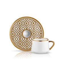 SUFI IKAT TURKISH COFFEE SET 6 Cups Saucers MAT GOLD