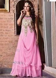 pink net and rachel jacquard fancy designer party wear gown