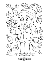 Coloring Book Pages For Kids Girl In Leaves