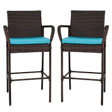 Kinbor Set Of 2 Patio Outdoor Wicker Barstool Set Pool Furniture High Chair  Brown W/Free Blue Cushions Chair Overstock Patio Fniture Adirondack High Chairs With Table Grand Terrace Sling Swivel Rocker Lounge Trends Details About 2pcs Rattan Bar Stool Ding Counter Portable Garden Outdoor Rocking Lovely Back Quality Cast Alinum Oval And Buy Tables Chairsding Chairsgarden Outside Top 2 Pcs Set Household Appliances Cool Full Size Bar Stools