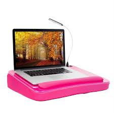 sofia sam memory foam lap desk with usb light and wrist rest pink