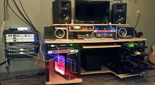 desk studio rta corner computer desk in black and maple studio