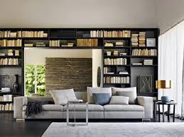 canap avec biblioth que int gr e salon contemporain avec bibliotheque en bois noir architecture