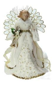 Lighted Fiber Optic Angel In Cream And Gold Gown Christmas Tree Topper