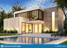 100 Modernhouse Evening View Of A Modern House With Swimming Pool Stock Photo