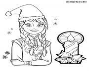 Printable Princess Anna Frozen Christmas Coloring Pages