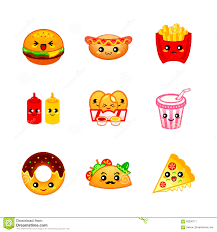 Cute Fast Food Icons Stock Vector Illustration Of