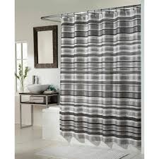Bathroom Dark Curved Shower Curtain Rod With White Shower