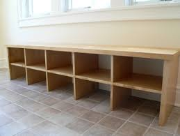 Bench Shoe Storage by Long Custom Made Bench On Tile Floor Easy Shoe Bench Mallard