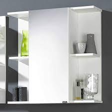 pharao24 bad spiegelschrank in weiß ablagen led beleuchtung 2 einlegeböden je facheinheit energieeffizienzklasse led