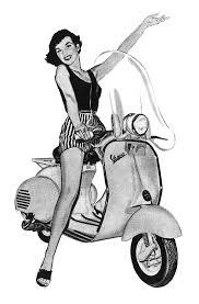 Vintage Vespa Girls BW
