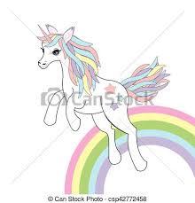 Animal Illustration With Cute Unicorn On Rainbow Background