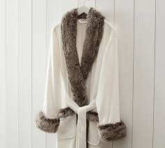 Faux Fur Robe Without Hood Ivory Gray