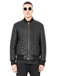 blood brother quilted leather bomber jacket in black for men lyst