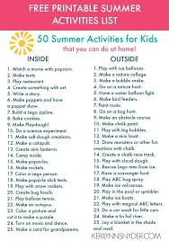 50 Summer Activities For Kids Plus Free Printable