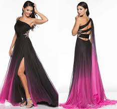 gradient ombre prom dresses side split evening formal gown one