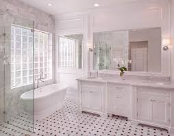marble basketweave tile floor transitional bathroom cote de