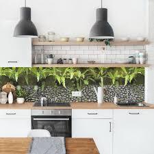 küchenrückwand steinwand mit pflanzen