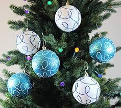 Festive Season Winter Turquoise Swirl Shatterproof Christmas Ball Ornaments Tree Decorations Set Of 6 Amazon