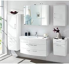 lomadox komplett badmöbel set hochglanz weiß 100cm