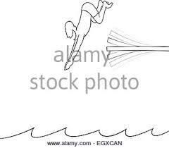 Black Line Art Illustration Of A Man Diving Off Board Into The Water
