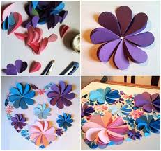 How To Make Paper Artwork Step By Colored Flowers